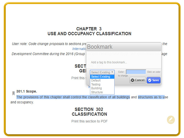 Bookmark sections of interest and tag them from your defined list or create a new one.