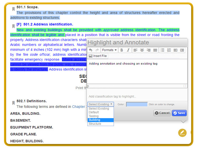 Select color and label to classify your highlights, annotations and bookmarks.
