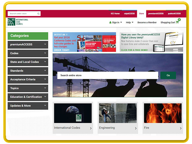 The ICC store provides you with thousands of publications and different formats for the construction industry.