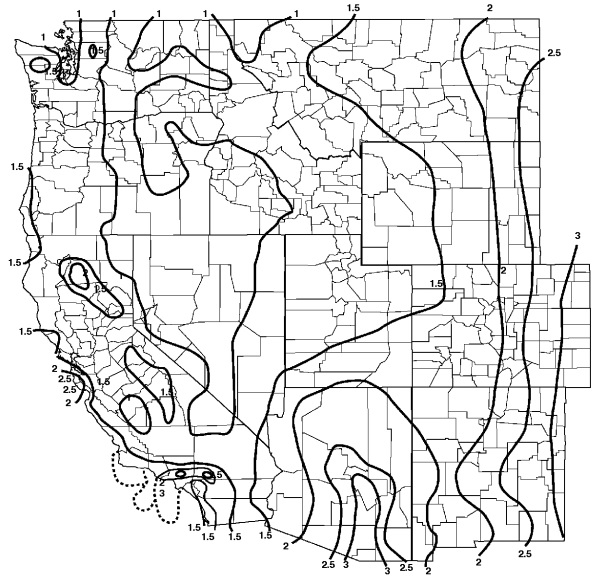[P] FIGURE 1611.1 100-YEAR, 1-HOUR RAINFALL (INCHES) WESTERN UNITED STATES