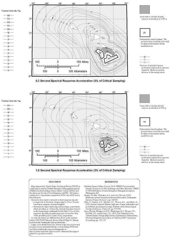 FIGURE 1613.3.1(3) RISK-TARGETED MAXIMUM CONSIDERED EARTHQUAKE (MCER) GROUND MOTION RESPONSE ACCELERATIONS FOR HAWAII OF 0.2- AND 1-SECOND SPECTRAL RESPONSE ACCELERATION (5% OF CRITICAL DAMPING), SITE CLASS B