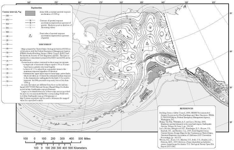 FIGURE 1613.3.1(4) RISK-TARGETED MAXIMUM CONSIDERED EARTHQUAKE (MCER) GROUND MOTION RESPONSE ACCELERATIONS FOR ALASKA OF 0.2-SECOND SPECTRAL RESPONSE ACCELERATION (5% OF CRITICAL DAMPING), SITE CLASS B