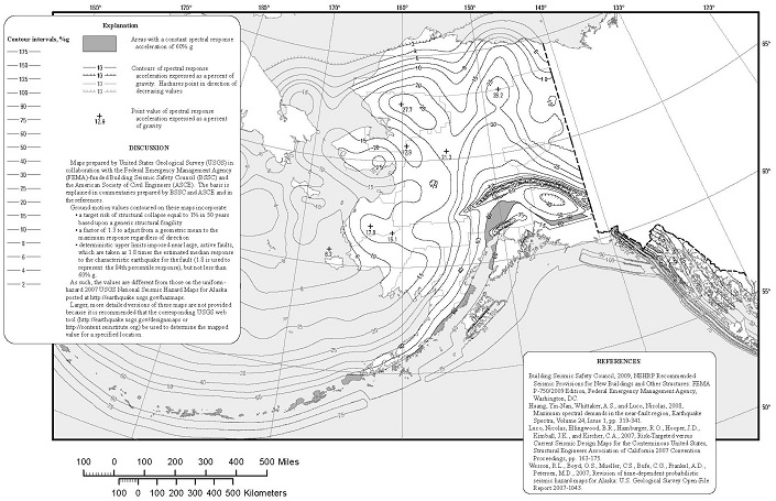 FIGURE 1613.3.1(5) RISK-TARGETED MAXIMUM CONSIDERED EARTHQUAKE (MCER) GROUND MOTION RESPONSE ACCELERATIONS FOR ALASKA OF 1.0-SECOND SPECTRAL RESPONSE ACCELERATION (5% OF CRITICAL DAMPING), SITE CLASS B