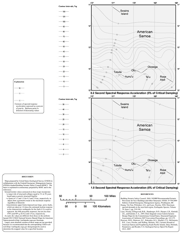 FIGURE 1613.3.1(8) RISK-TARGETED MAXIMUM CONSIDERED EARTHQUAKE (MCER) GROUND MOTION RESPONSE ACCELERATIONS FOR AMERICAN SAMOA OF 0.2- AND 1-SECOND SPECTRAL RESPONSE ACCELERATION (5% OF CRITICAL DAMPING), SITE CLASS B